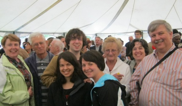 Here's the family in the food tent. Do I look stressed?