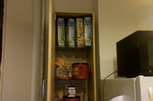 This is the pantry of someone who buys Chex by the carton. Not to mention bulk coffee (yes, I'm hooked again).