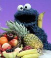 Cookie monster with fruit