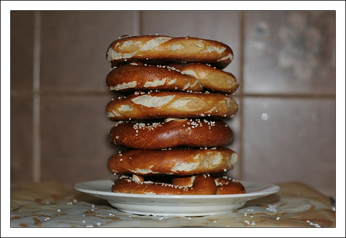 stack of non-gluten-free soft pretzels with salt