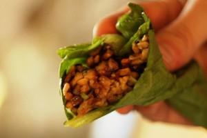 vegetarian tempeh lettuce wrap