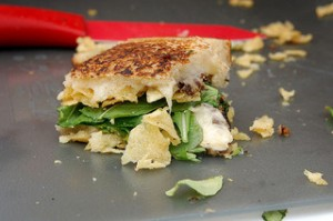 spinach, potato chip grilled cheese sandwich