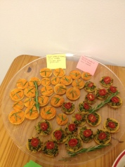 Zucchini butter & sweet potato tartlets, with adorable little placards made by Althea