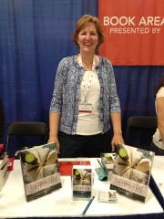 Colette Martin with her book, Learning to Bake Allergen-Free