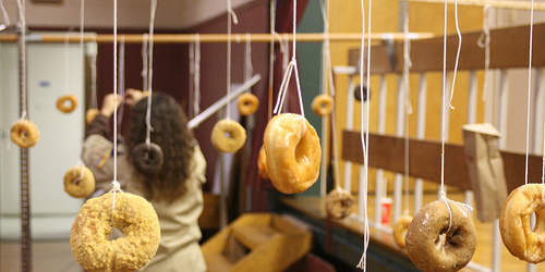 donuts hanging on string game