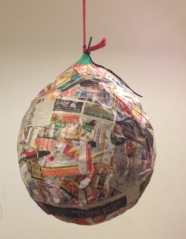 paper mache piñata in progress