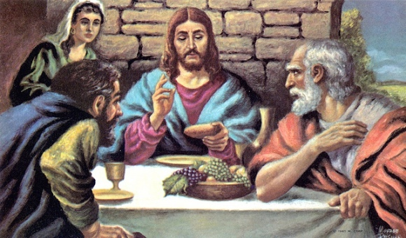 the Last Supper - Jesus breaking the bread