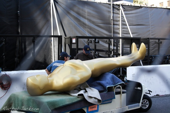 large gold Oscars/Academy Awards statue on truck
