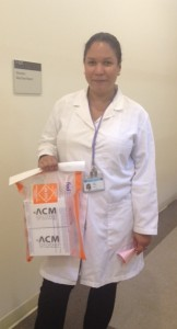 Celiaction study coordinator with my biopsy samples!