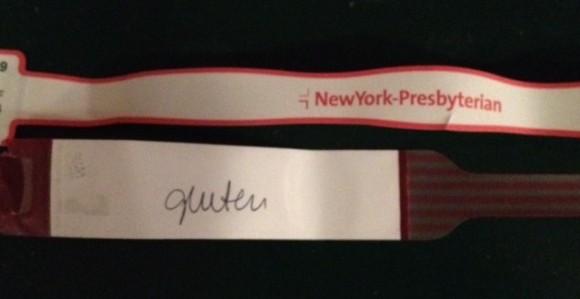 no gluten hospital bracelet